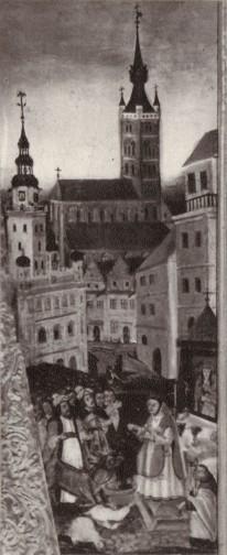 Kościół farny Św. Marii Magdaleny i Ratusz od wschodu Foto: WIDOKI STAREGO POZNANIA Magdalena Warkoczewska, Wydawnictwo Poznańskie 1960