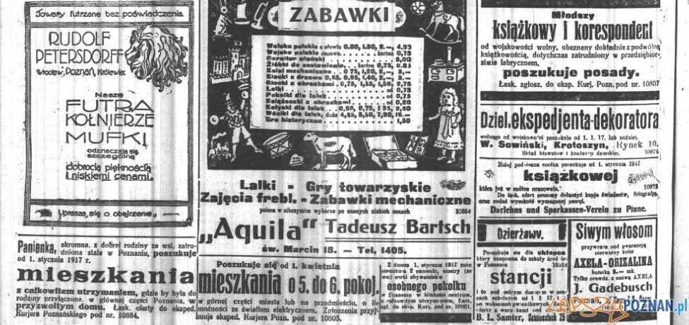 Anonse - Kuryer Poznański 12 grudnia 1916 Foto: Wielkopolska Biblioteka Cyfrowa