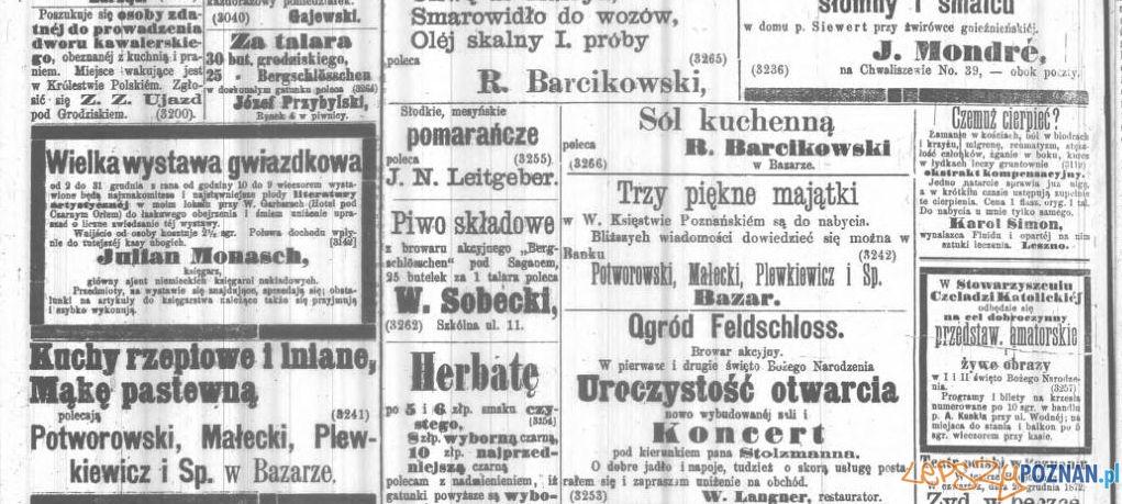 Anonse - Kuryer Poznański 24 grudnia 1872 Foto: Wielkopolska Biblioteka Cyfrowa