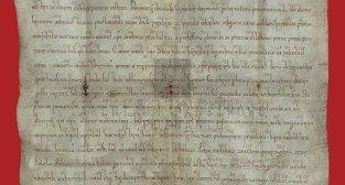Dokument fundacyjny klasztoru cystersów w Łeknie z 1153 r Foto: Archiwum Państwowe w Poznaniu