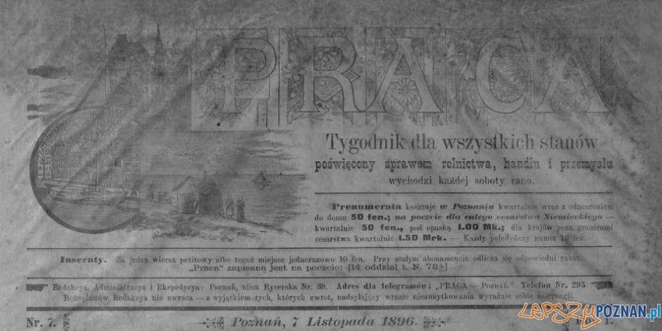 Tygodnik Praca nr 7 1896 Foto: Wielkopolska Biblioteka Cyfrowa