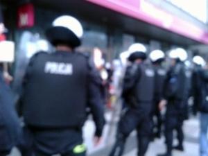 Policja na Św. Marcinie Foto: JG