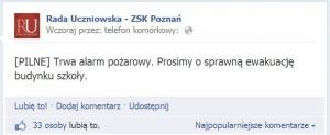 Alarm pożarowy na... facebooku!