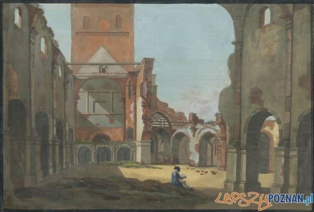 Ruiny kolegiaty na gwaszu Karola Albertiego z 1798 roku Foto: CC