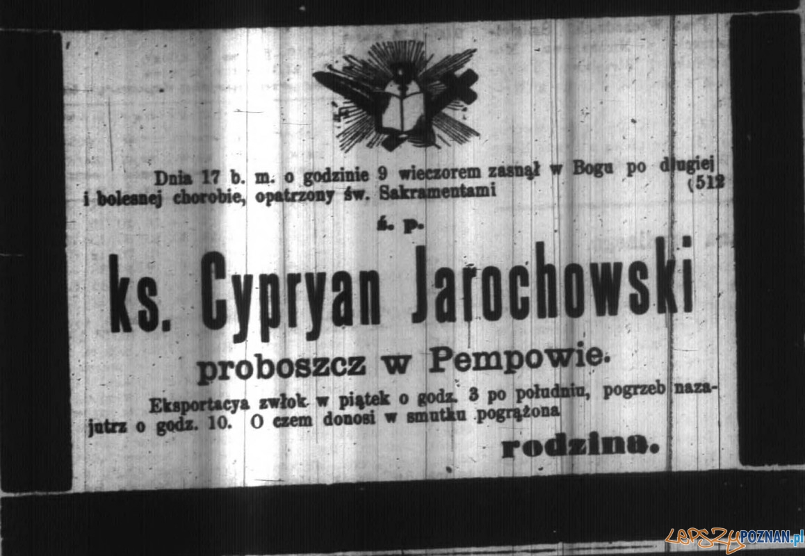 Nekrolog Cypriana Jarochowskiego, Dziennik Poznański 15-1898