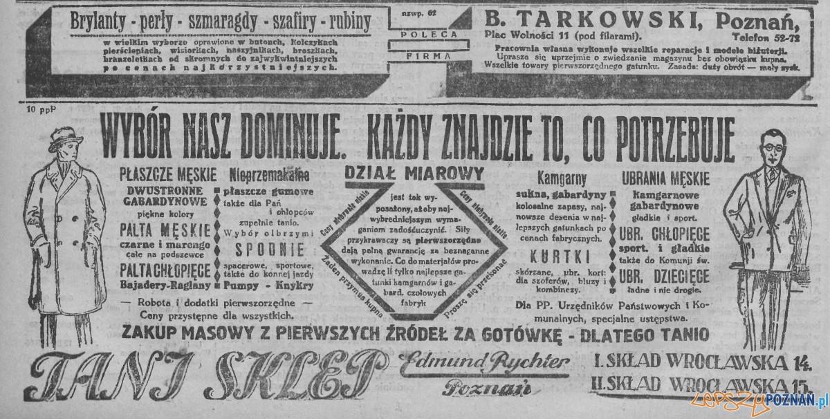 Reklama Nowy Kurjer marzec 1927 Foto: Wielkopolska Biblioteka Cyfrowa