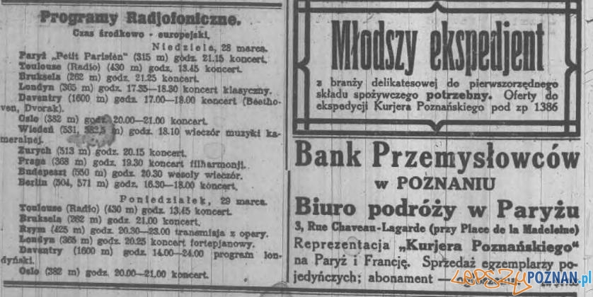 Kurjer Poznański 22.03.1926 Anonse i Radjo Foto: WBC