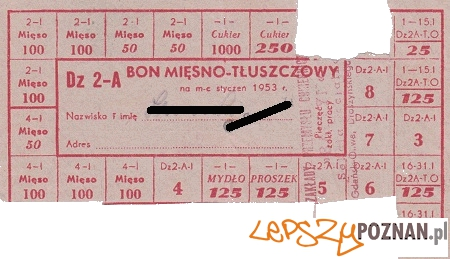 Bon mięsno-tłuszczowy 1953 Foto: Zbiory Krzysztofa Gryndera, http://www.dawnaoliwa.pl/