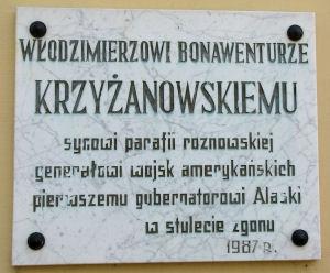 Tablica pamiątkowa Krzyżanowskiego w Rożnowie Foto: http://www.staff.amu.edu.pl/~gmazurek