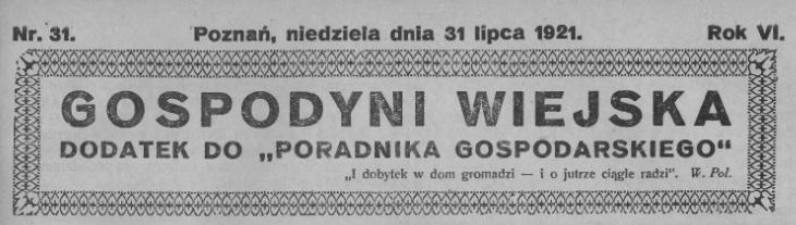 Gospodyni Wiejska 31.07.1921 Foto: WBC