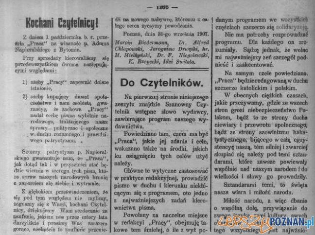 Praca słowo wstepne 6.10.1907 Foto: WBC