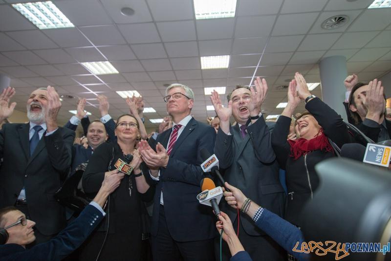 Jacek Jaśkowiak podczas ogłoszenia wyników sondażowych  Foto: lepszyPOZNAN.pl / Piotr Rychter