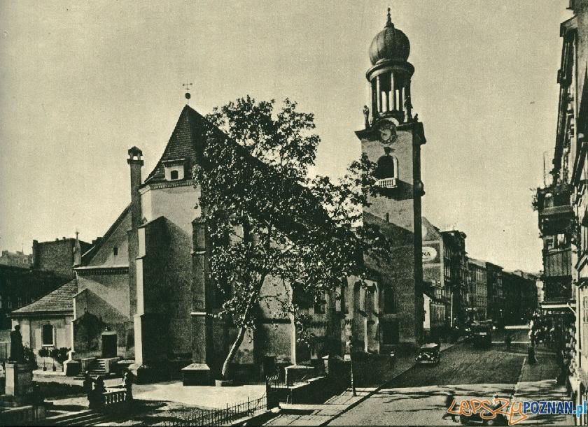 Kościół Św. Marcina, po lewej pomnik Mickiewicza, okres międzywojenny
