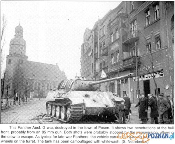 Czołg przy Rynku Wildeckim 1945