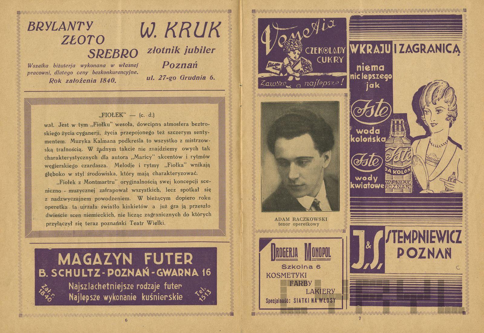 Program progamu Teatru Wielkiego - Operetki Imre Kalmana Fiołek z Montmartre 1930-33
