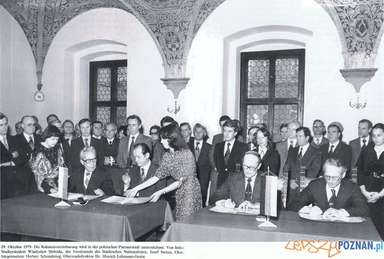 Podpisanie umowy partnerskiej pomiędzy Poznaniem a Hanowerem, 29 października 1979