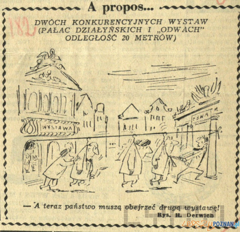 Rysunek satyryczny H. Derwicha na temat dwóch wystaw w Odwachu i Pałacu Działyńskich 20.11.1958