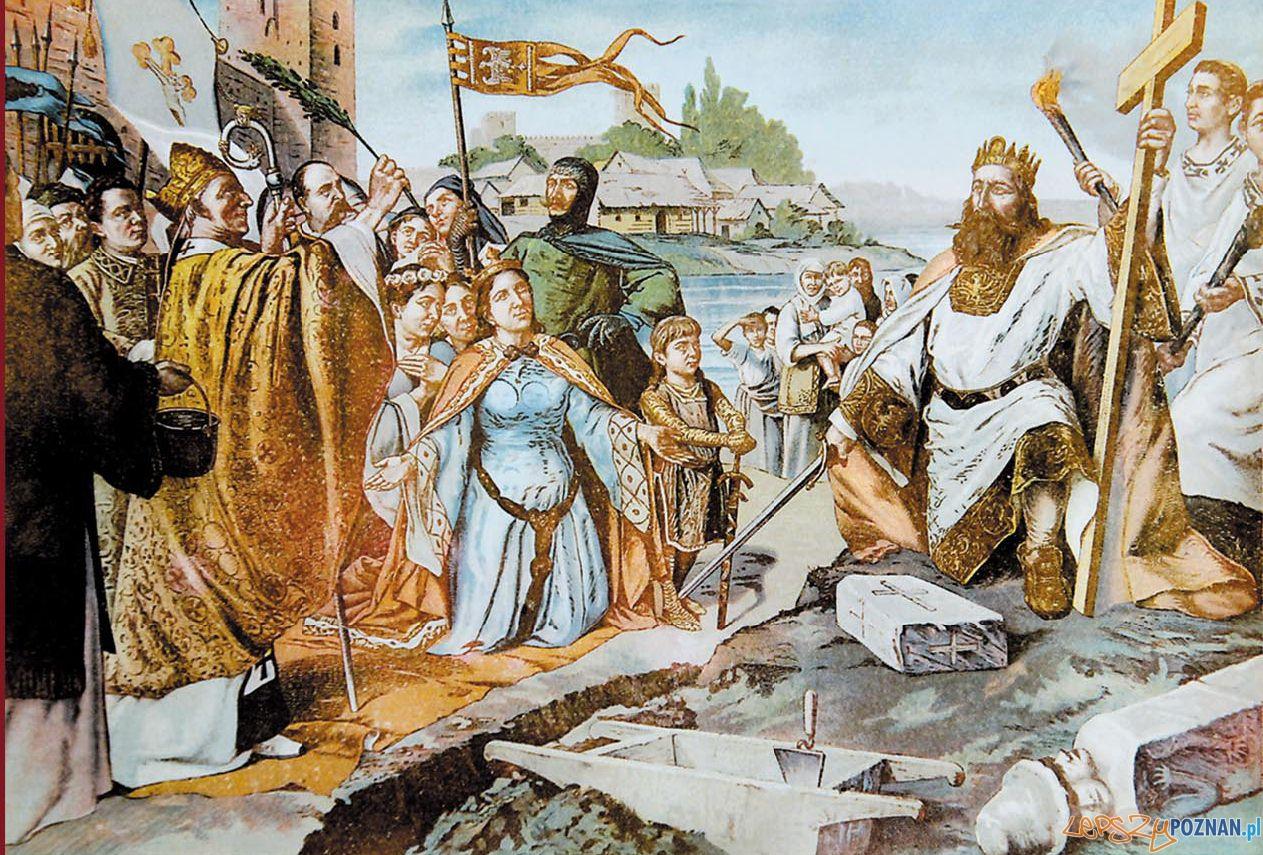 Wmurowanie kamienia węgielnego pod katedrę przez Mieszka I w obecności biskupa Jordana Laszczynski