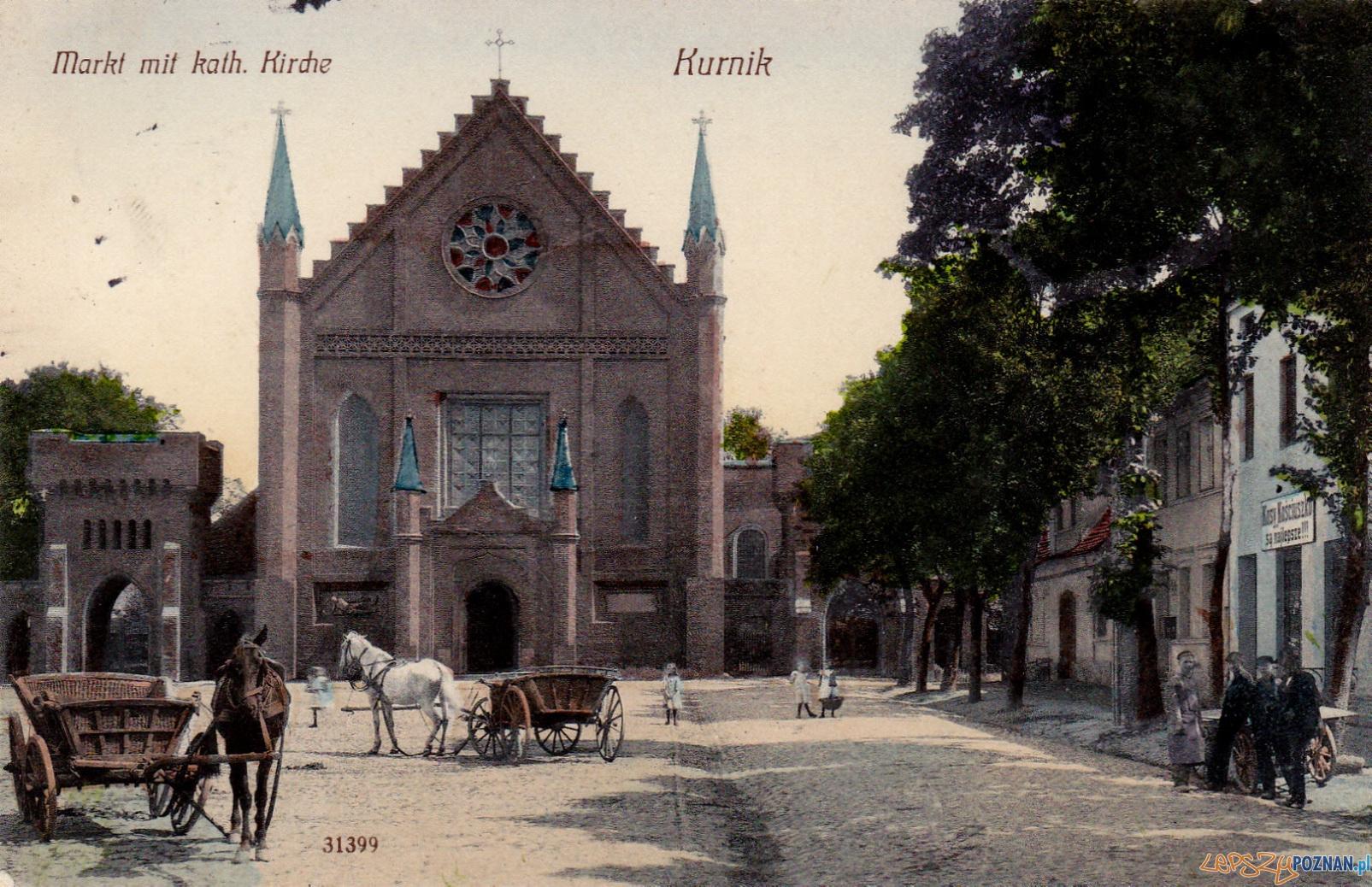 Kościół Wszystkich Świętych i Rynek w Kórniku 1905
