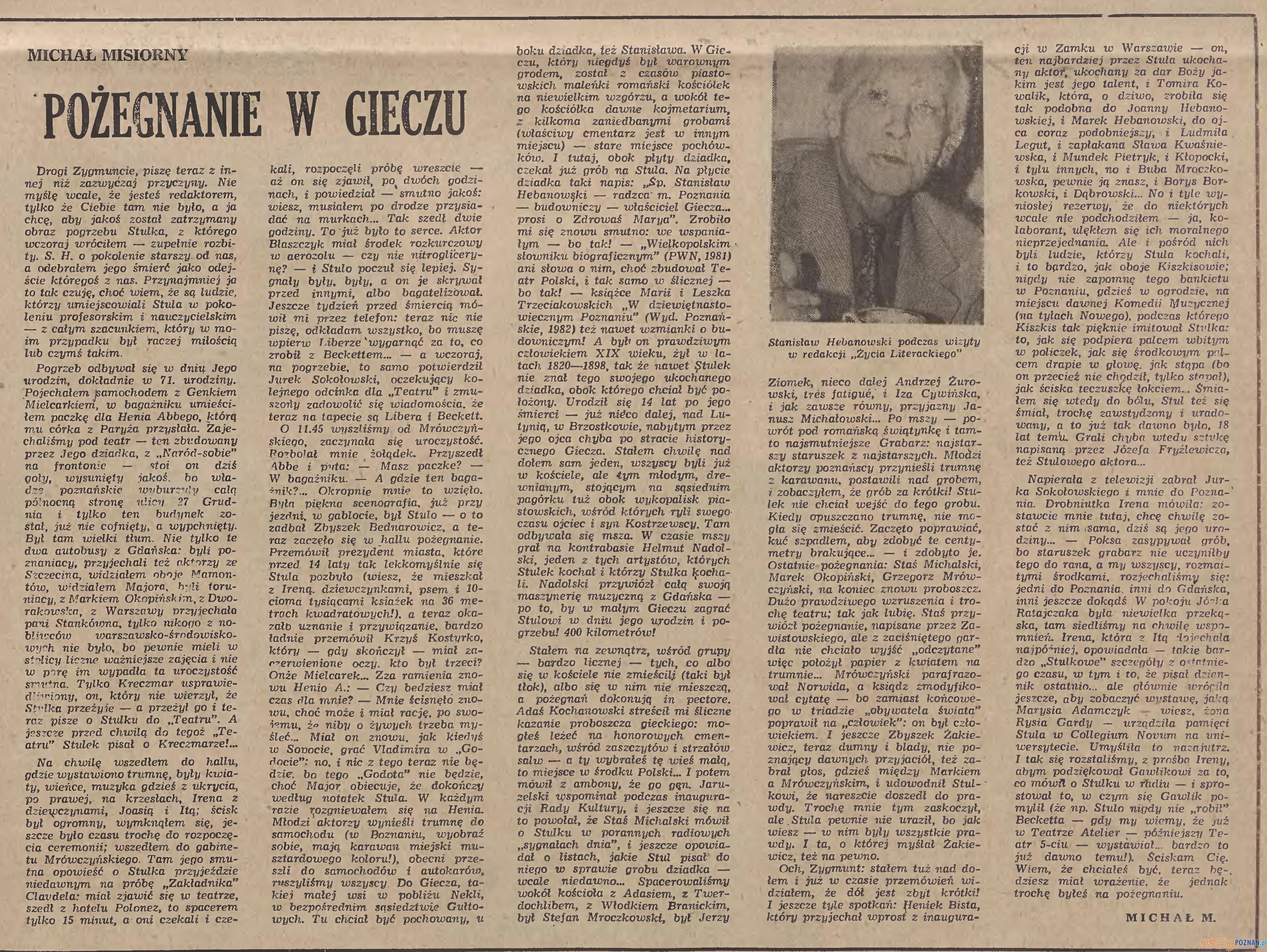 Pożegnanie Hebanowskiego w Życiu Literackim (1983)