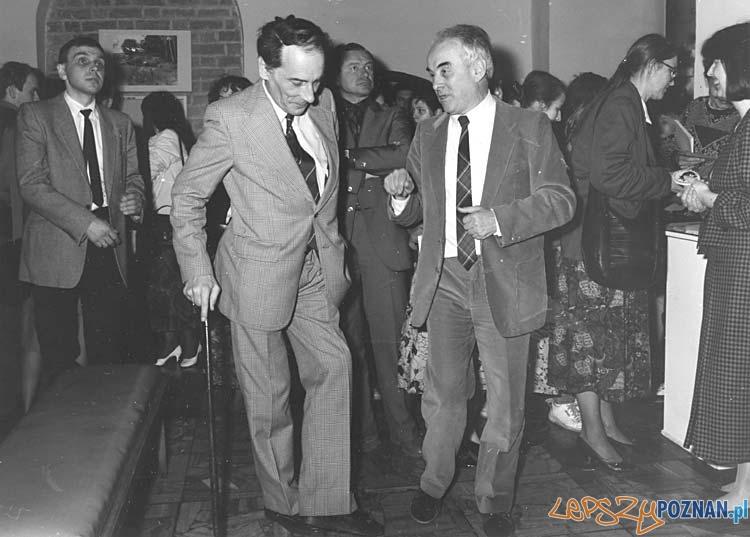 Prezydent Wojciech Szczęsny Kaczmarek i Lech Krzyżaniak - dyrektor Muzeum Archeologicznego - 1991 r.