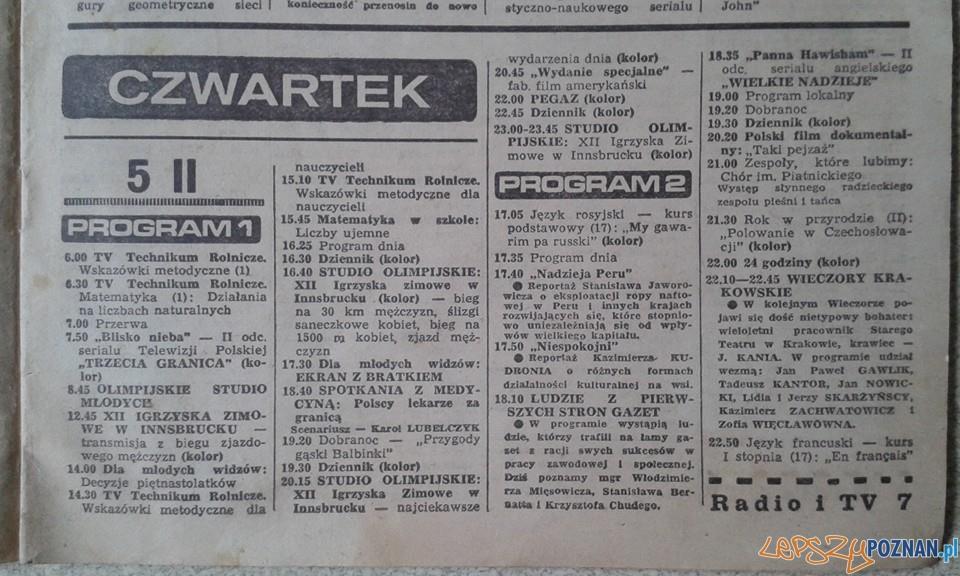 Program telewizyjny - 5 lutego 1976
