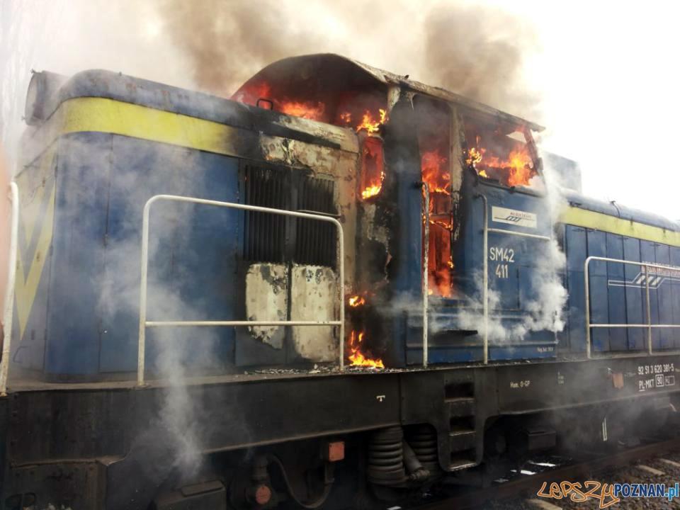 Pożar lokomotywy  Foto: PSP JRG 8