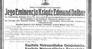 Nekrolog arcybiskupa Edmunda Dalbora Dziennik Poznański nr 36.1926