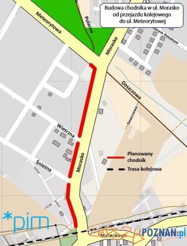 Budowa chodnika na Morasku