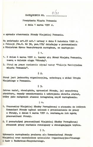 Zarządzenie prezydenta Poznania o utworzeniu Straży Miejskiej  Foto: UMP