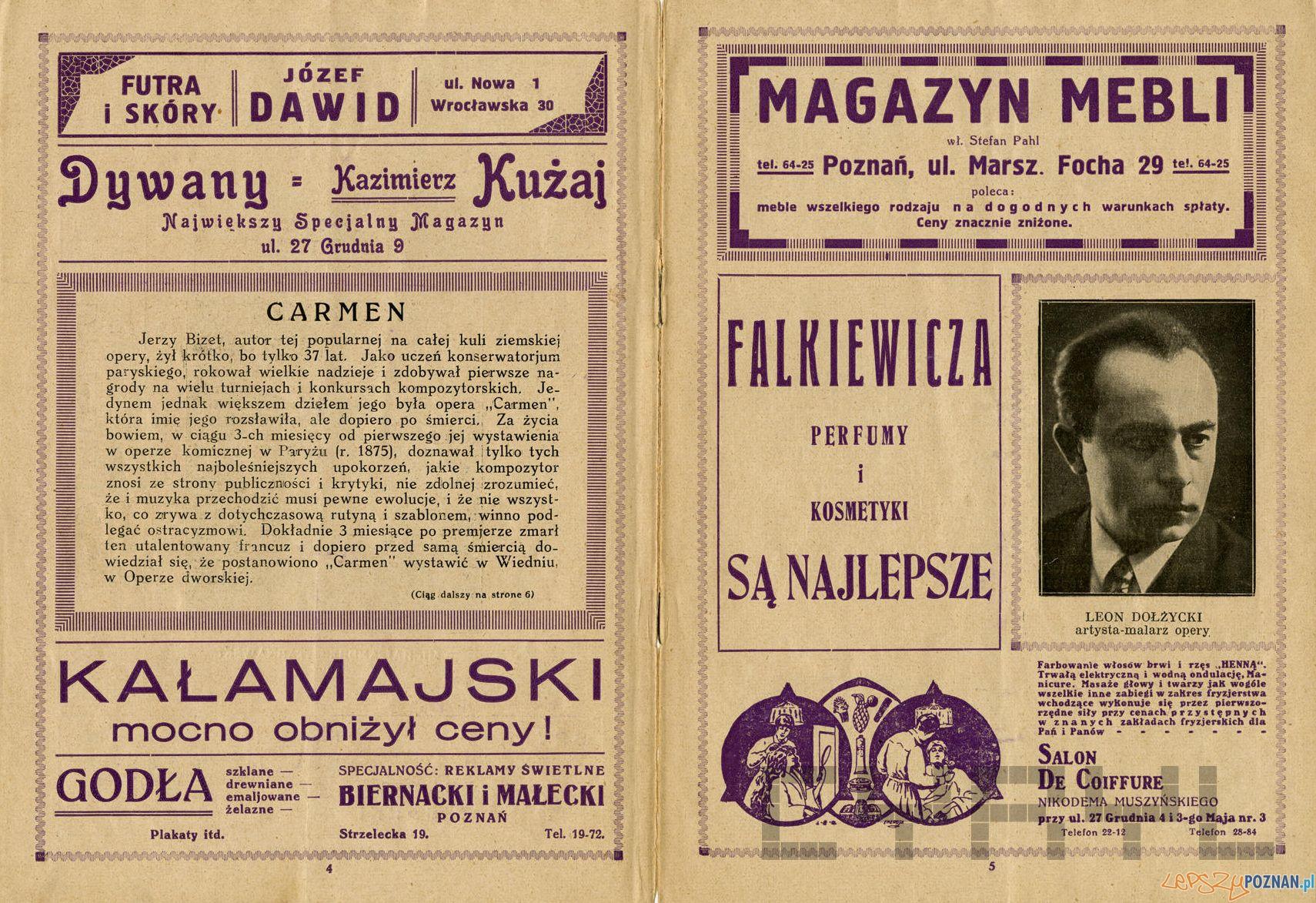 Program opery Carmen w Teatrze Wielkim sezon 1937-38 Teatr Wielki Cyryl (2)  Foto: Teatr Wielki / Cyryl