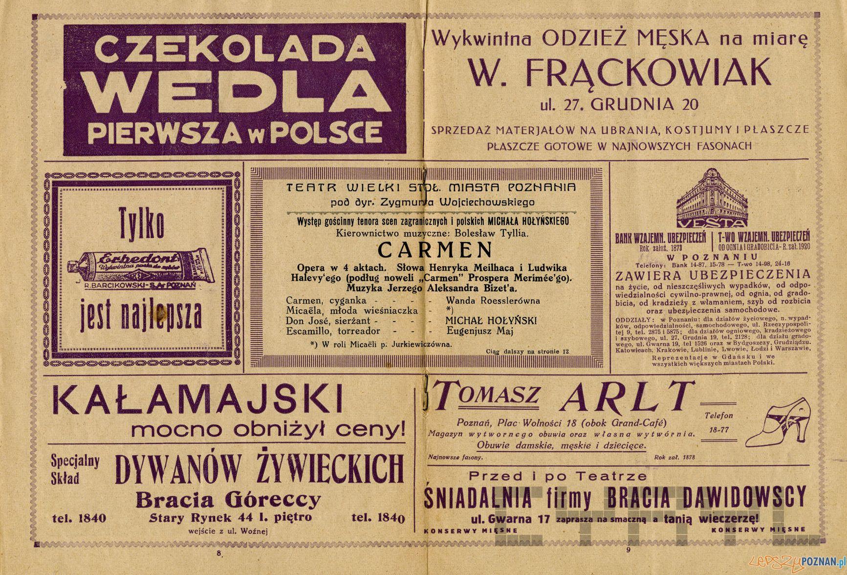 Program opery Carmen w Teatrze Wielkim sezon 1937-38  Foto: Teatr Wielki / Cyryl