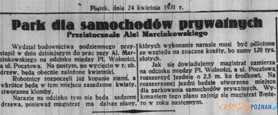 Al. Marcinkowskiego Dz. Pozn 24.04.1931