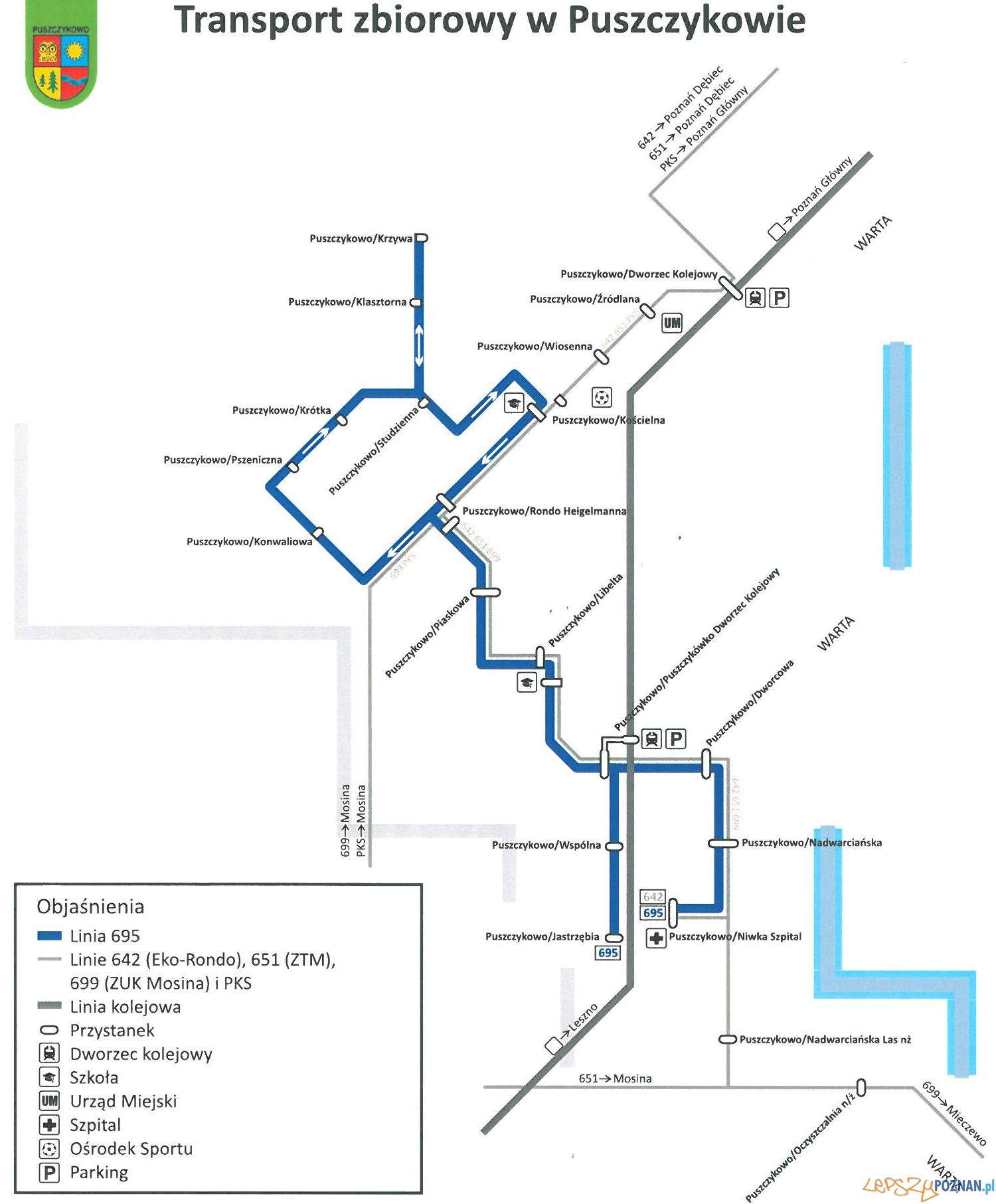 trasa autobusów linii 695