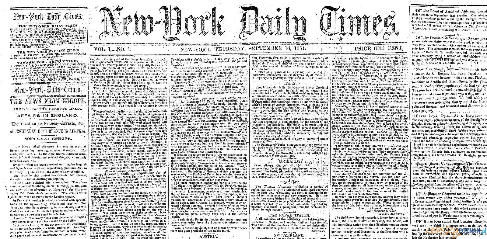Pierwszy numer NYT