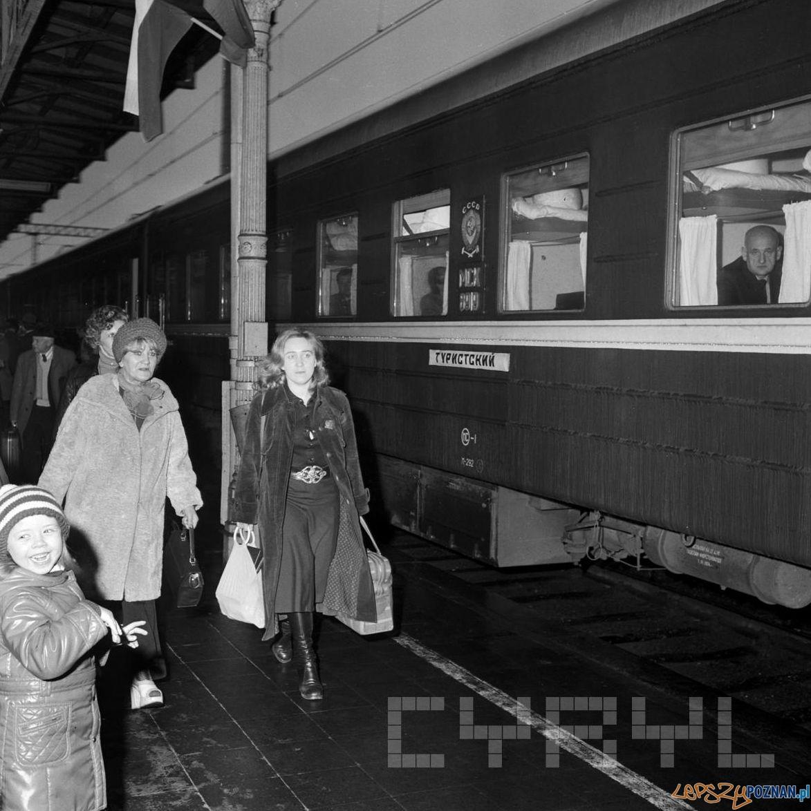 Pociąg Przyjaźni na Dworcu Poznań Główny 25.10.1974  Foto: Stanisław Wiktor /Cyryl