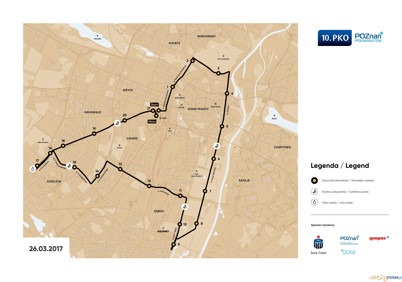 Trasa 10 poznańskiego półmaratonu  Foto: POSiR
