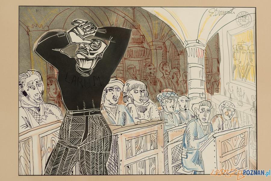 Edward Dwurnik studium LARUM z 1972 r. - rysunek z sygnaturą z cyklu SPORTOWCY, 1973 r.  Foto: Maciej Zakrzewski / Malta Festival