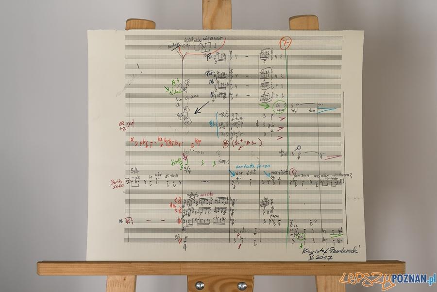 Strona szkicu do ostatniego dzieła Krzysztofa Pendereckiego VI Symfonii  Foto: Maciej Zakrzewski / Malta Festival