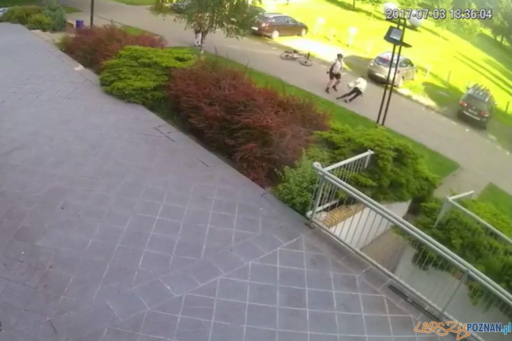 Brutalny atak rowerzysty na kobietę w parku  Foto: monitoring