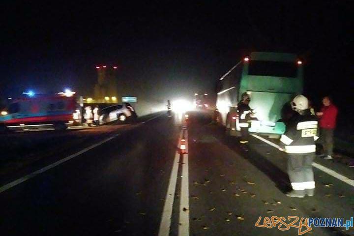 Zderzenie z autobusem  Foto: OSP Pobiedziska