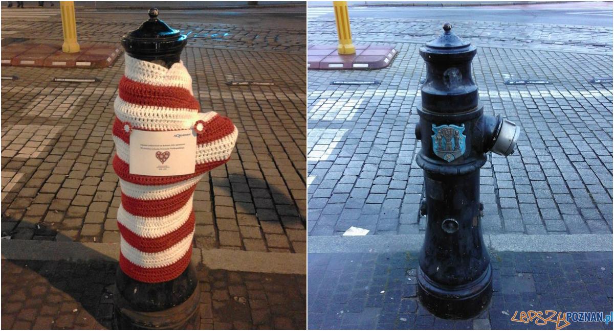 Kto ukradł biało-czerwone wdzianko z hydrantu?  Foto: fb / Aquanet