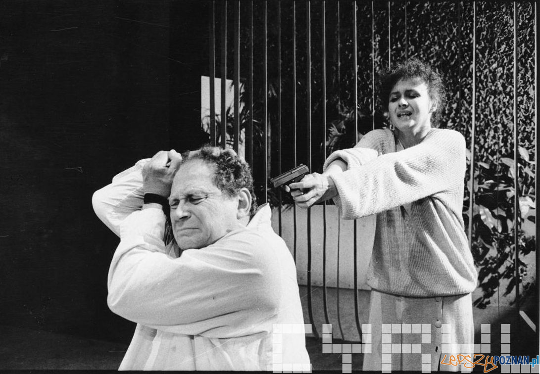Joanna Szczepkowska oraz Witold Dębicki w sztuce Ariela Dorfmana Śmierć i dziewczyna -  Teatr Nowy - 12.11.1993]  Foto: Stefan Okołowicz / Cyryl