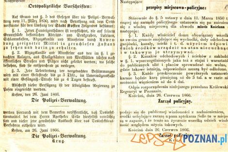 Obwieszczenie dotyczące epidemii cholery dla miasta Kościana. Prezydium Policji w Poznaniu  Foto: Archiwum Państwowe w Poznaniu / facebook